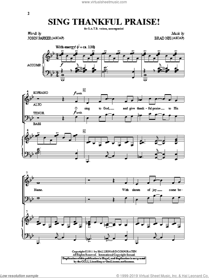 Sing Thankful Praise! sheet music for choir (SATB) by Brad Nix and John Parker. Score Image Preview.