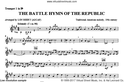 Battle Hymn Of The Republic (COMPLETE) sheet music for orchestra by Julia Ward Howe