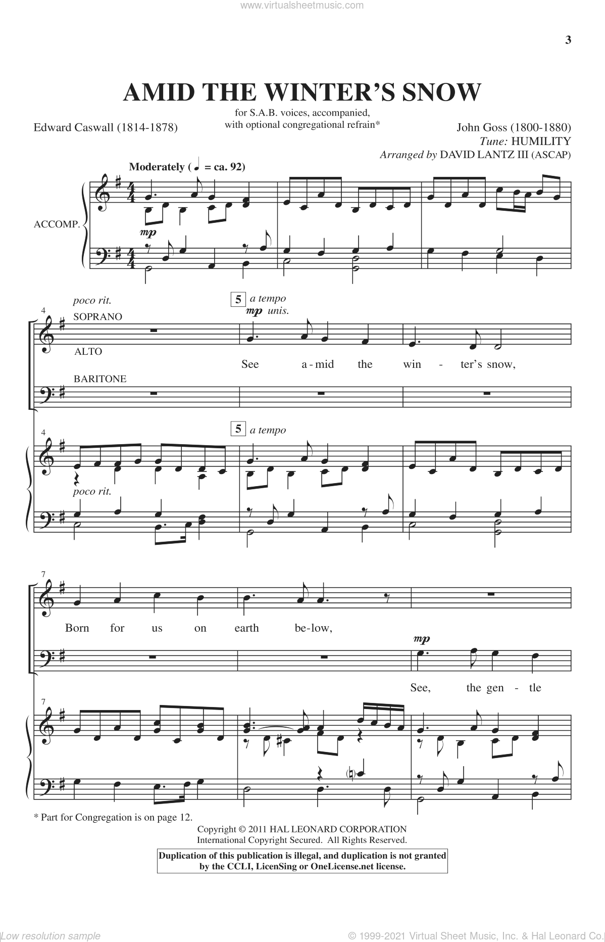 See Amid The Winter's Snow sheet music for choir (SAB) by Edward Caswall, John Goss and David Lanz, Christmas carol score, intermediate choir (SAB). Score Image Preview.