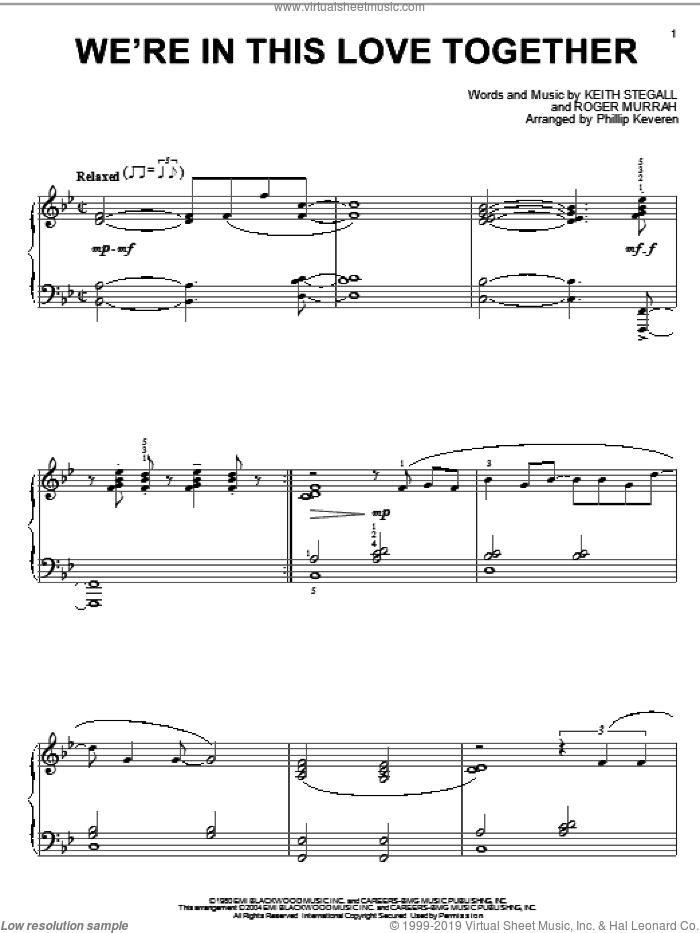 We're In This Love Together sheet music for piano solo by Roger Murrah, Phillip Keveren, Al Jarreau and Keith Stegall. Score Image Preview.