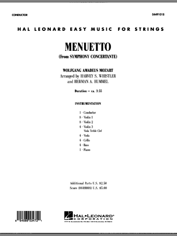 Menuetto (from Symphony Concertante) (COMPLETE) sheet music for orchestra by Wolfgang Amadeus Mozart, classical score, intermediate orchestra. Score Image Preview.
