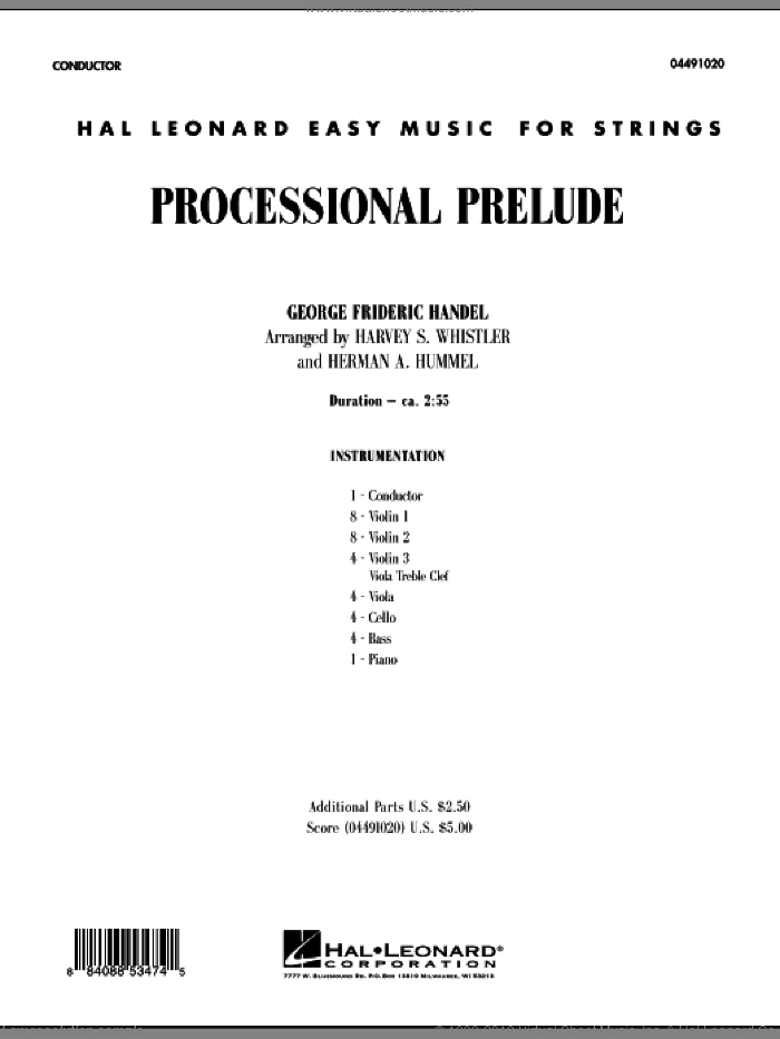 Processional Prelude (COMPLETE) sheet music for orchestra by George Frideric Handel, classical score, intermediate orchestra. Score Image Preview.