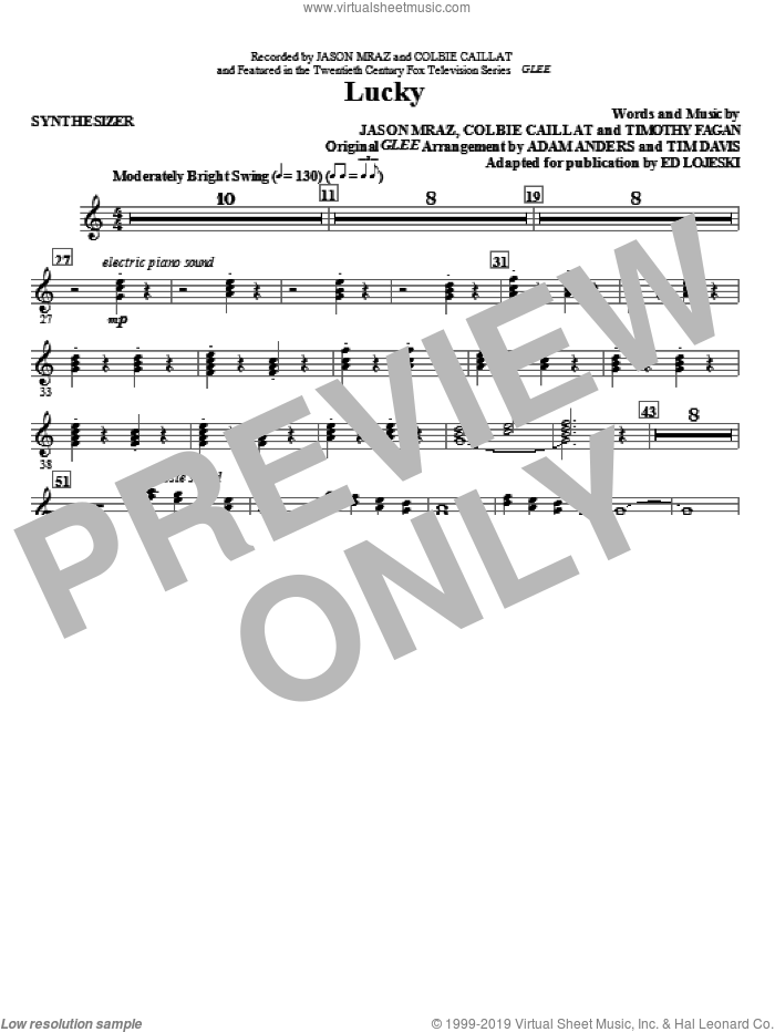 Lucky (complete set of parts) sheet music for orchestra/band (Rhythm) by Glee Cast, Colbie Caillat, Ed Lojeski, Jason Mraz, Miscellaneous and Timothy Fagan, intermediate skill level