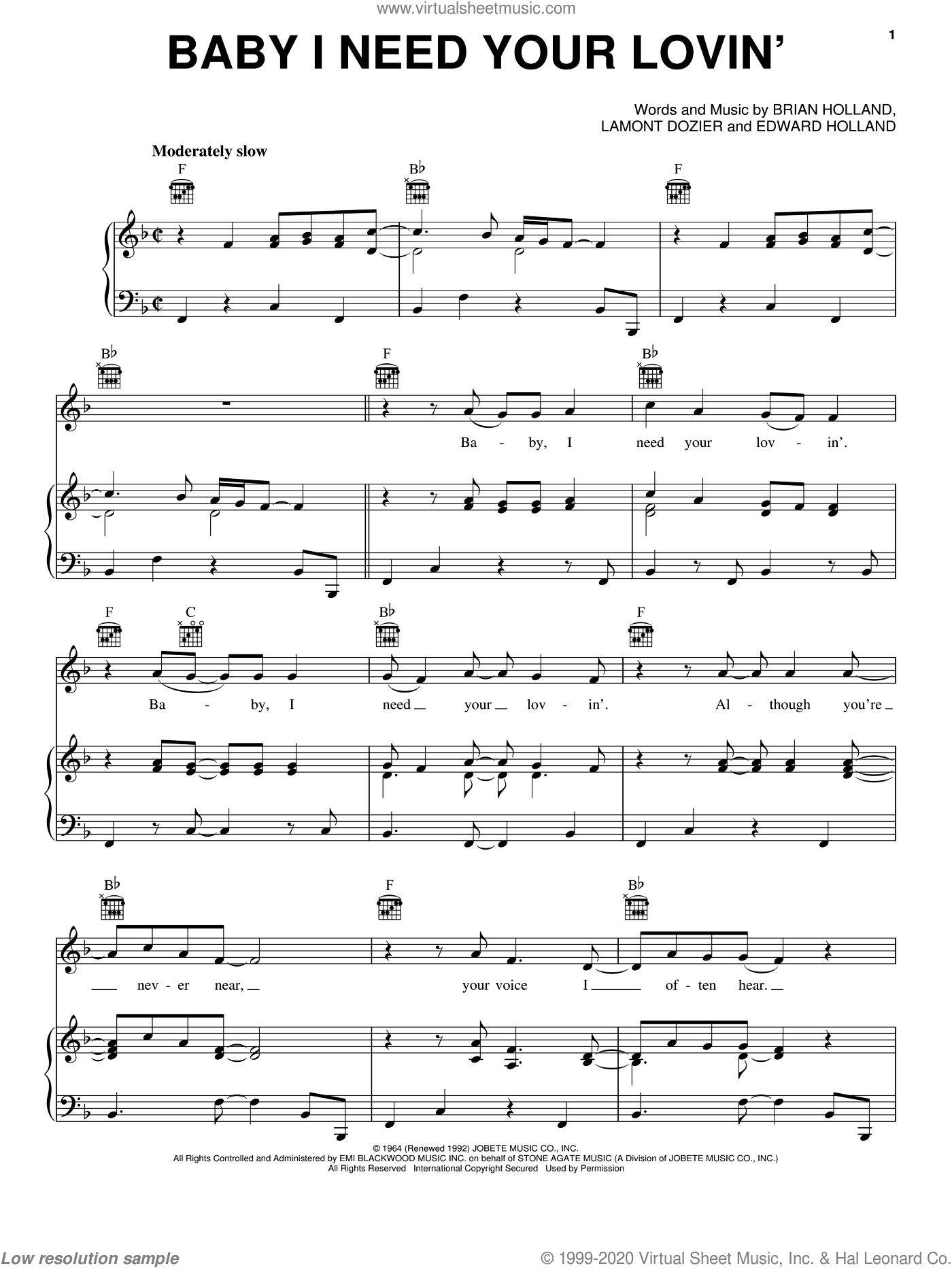 Baby I Need Your Lovin' sheet music for voice, piano or guitar by The Four Tops, Michael McDonald and Brian Holland, intermediate. Score Image Preview.
