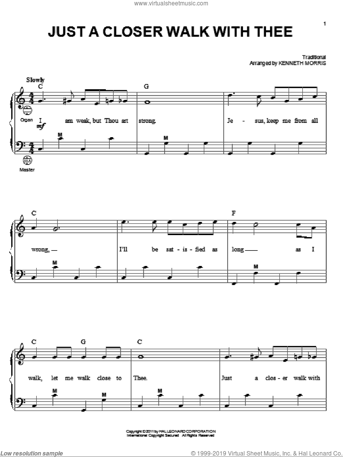 Just A Closer Walk With Thee sheet music for accordion by Kenneth Morris