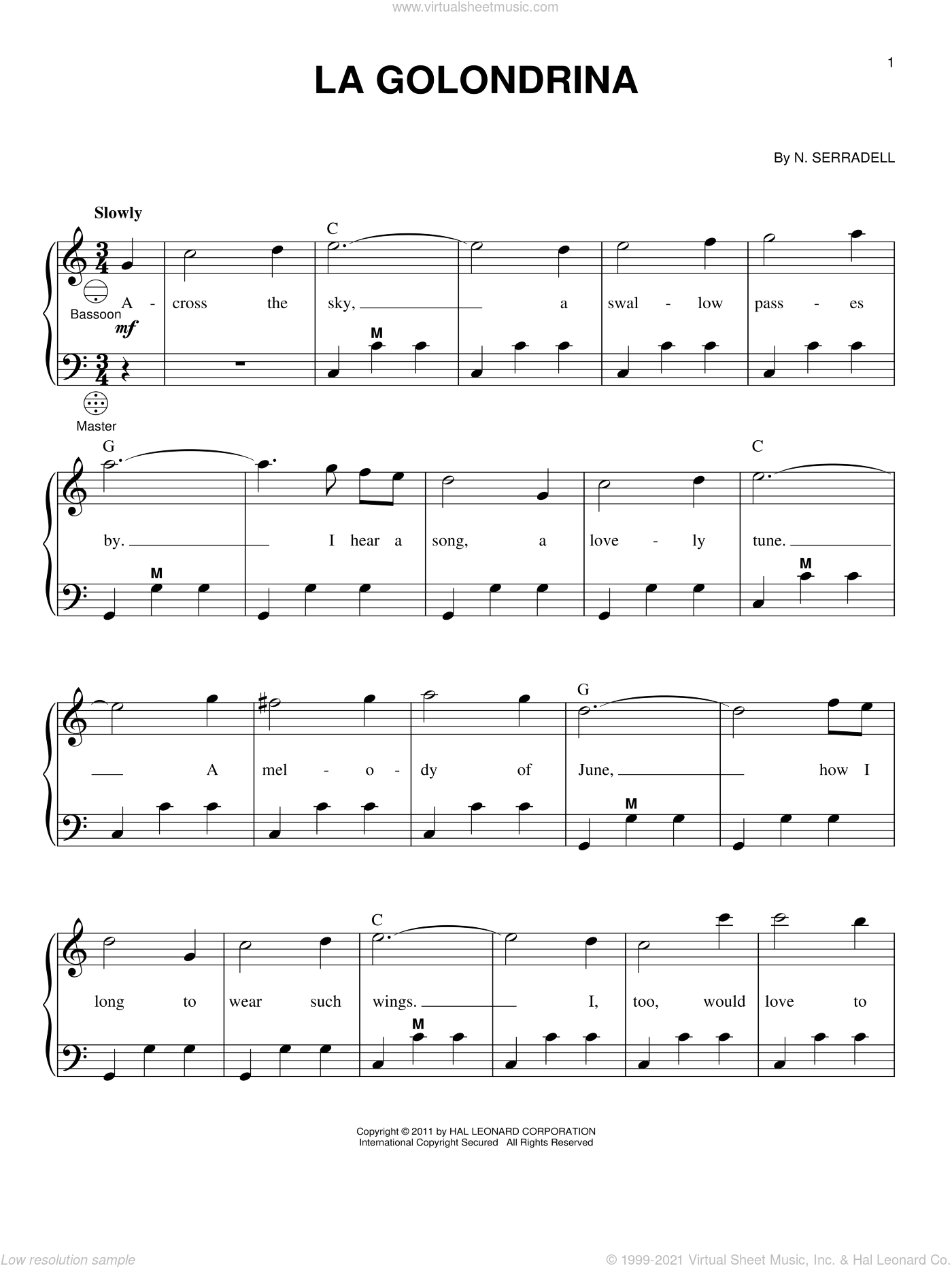 La Golondrina sheet music for accordion by N. Serradell and Gary Meisner, intermediate skill level
