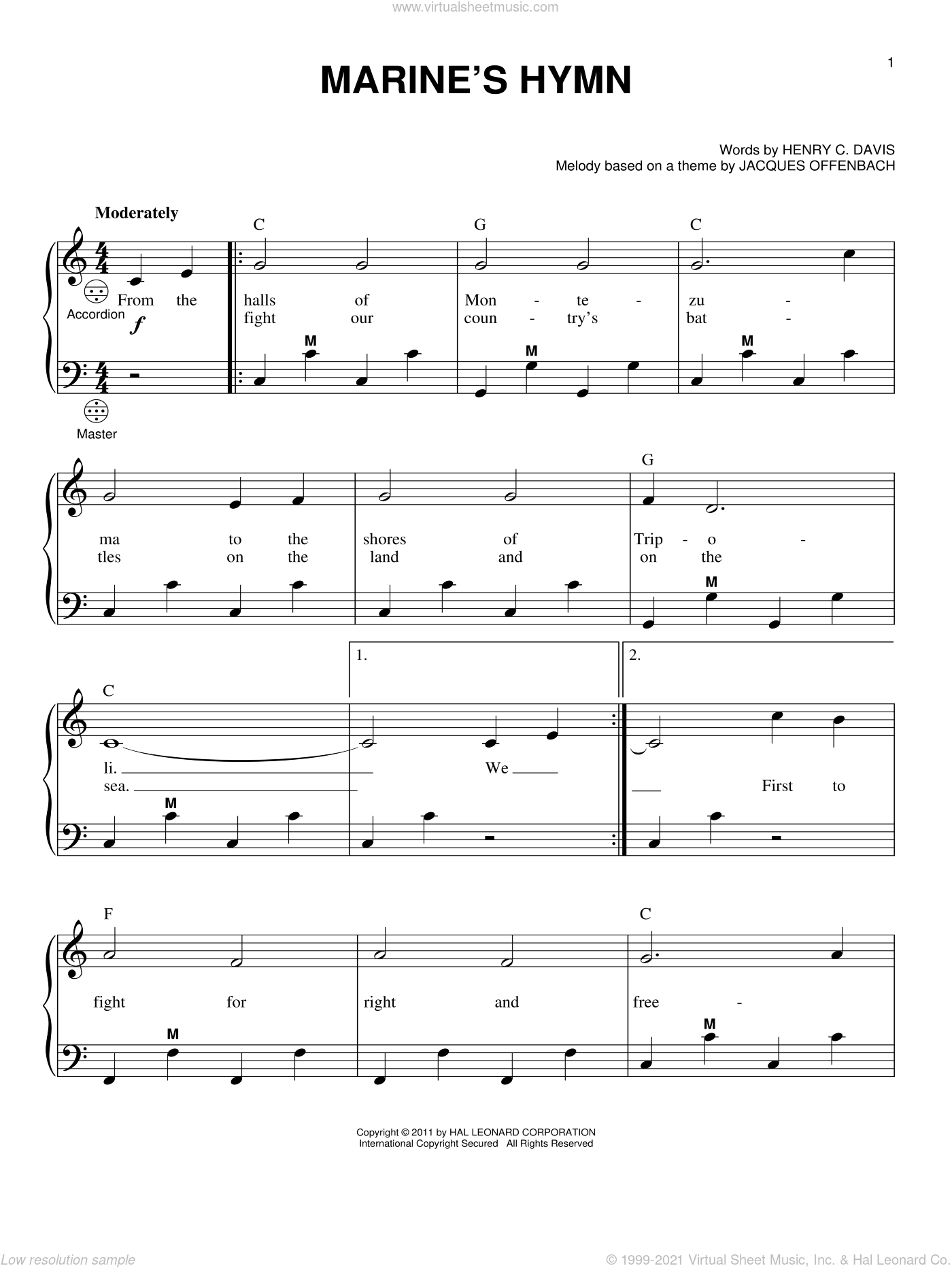 Marine's Hymn sheet music for accordion by Henry C. Davis, Gary Meisner and Jacques Offenbach, intermediate skill level