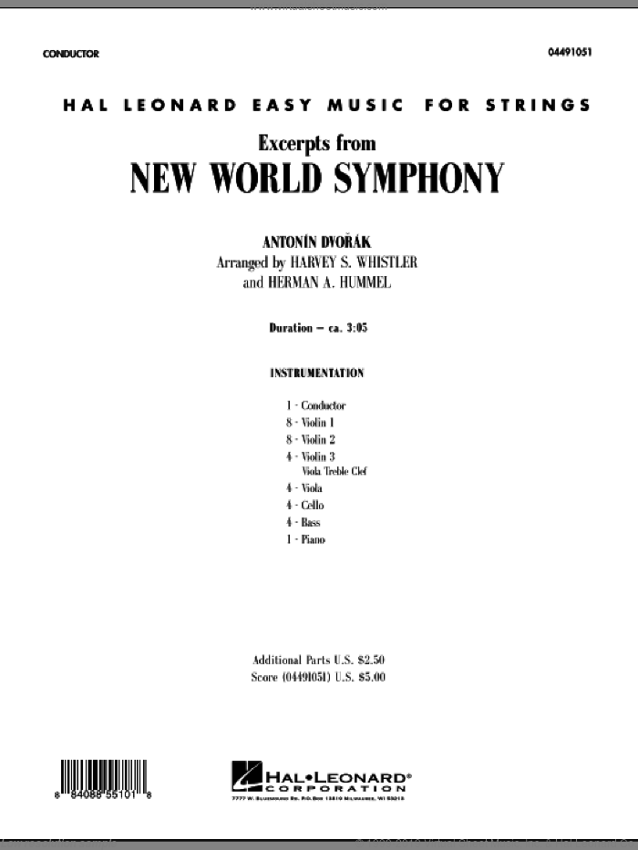 Excerpts from New World Symphony (COMPLETE) sheet music for orchestra by Antonin Dvorak, Harvey Whistler and Herman Hummel, classical score, intermediate. Score Image Preview.