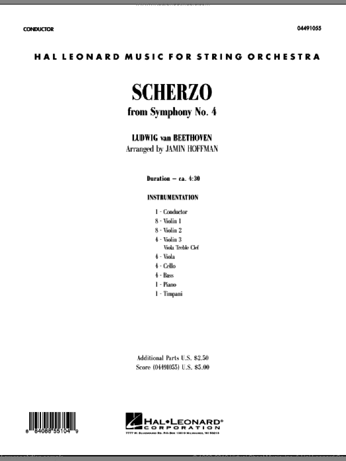 Scherzo from Symphony No. 4 (COMPLETE) sheet music for orchestra by Ludwig van Beethoven and Jamin Hoffman, classical score, intermediate