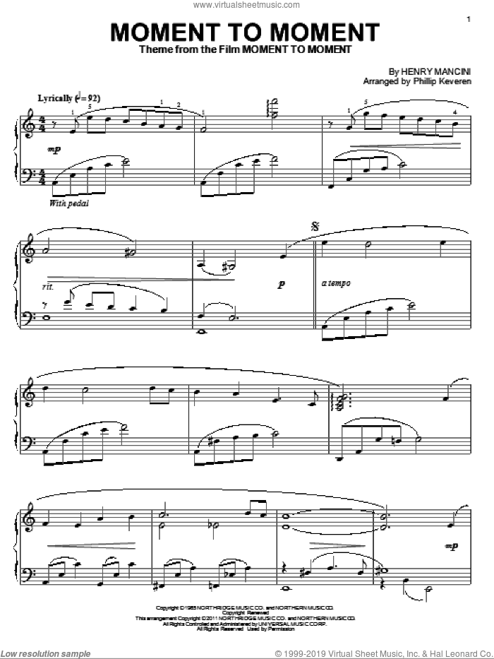 Moment To Moment sheet music for piano solo by Henry Mancini and Phillip Keveren, intermediate skill level