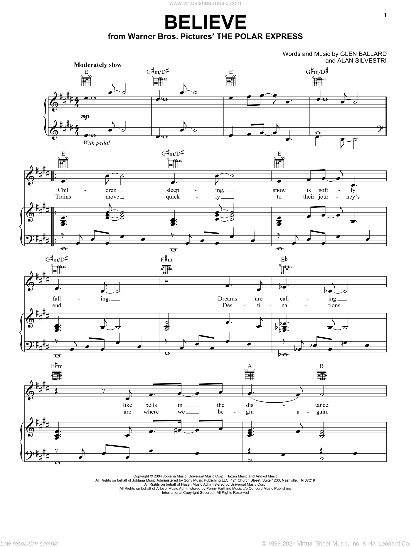 Believe sheet music for voice, piano or guitar by Josh Groban, Alan Silvestri and Glen Ballard, Christmas carol score, intermediate voice, piano or guitar. Score Image Preview.