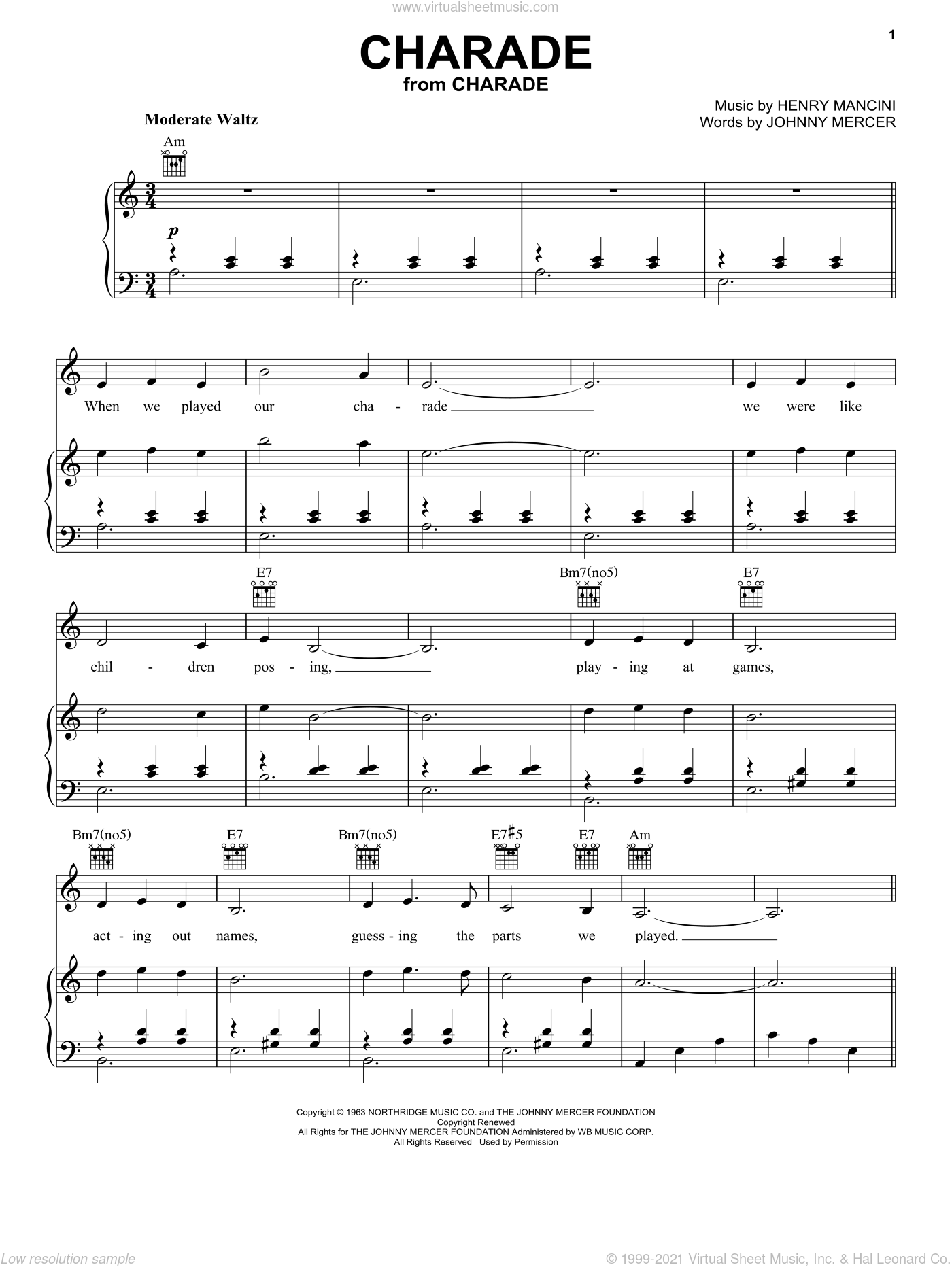 Charade sheet music for voice, piano or guitar by Henry Mancini, Andy Williams, Sammy Kaye and Johnny Mercer, intermediate skill level