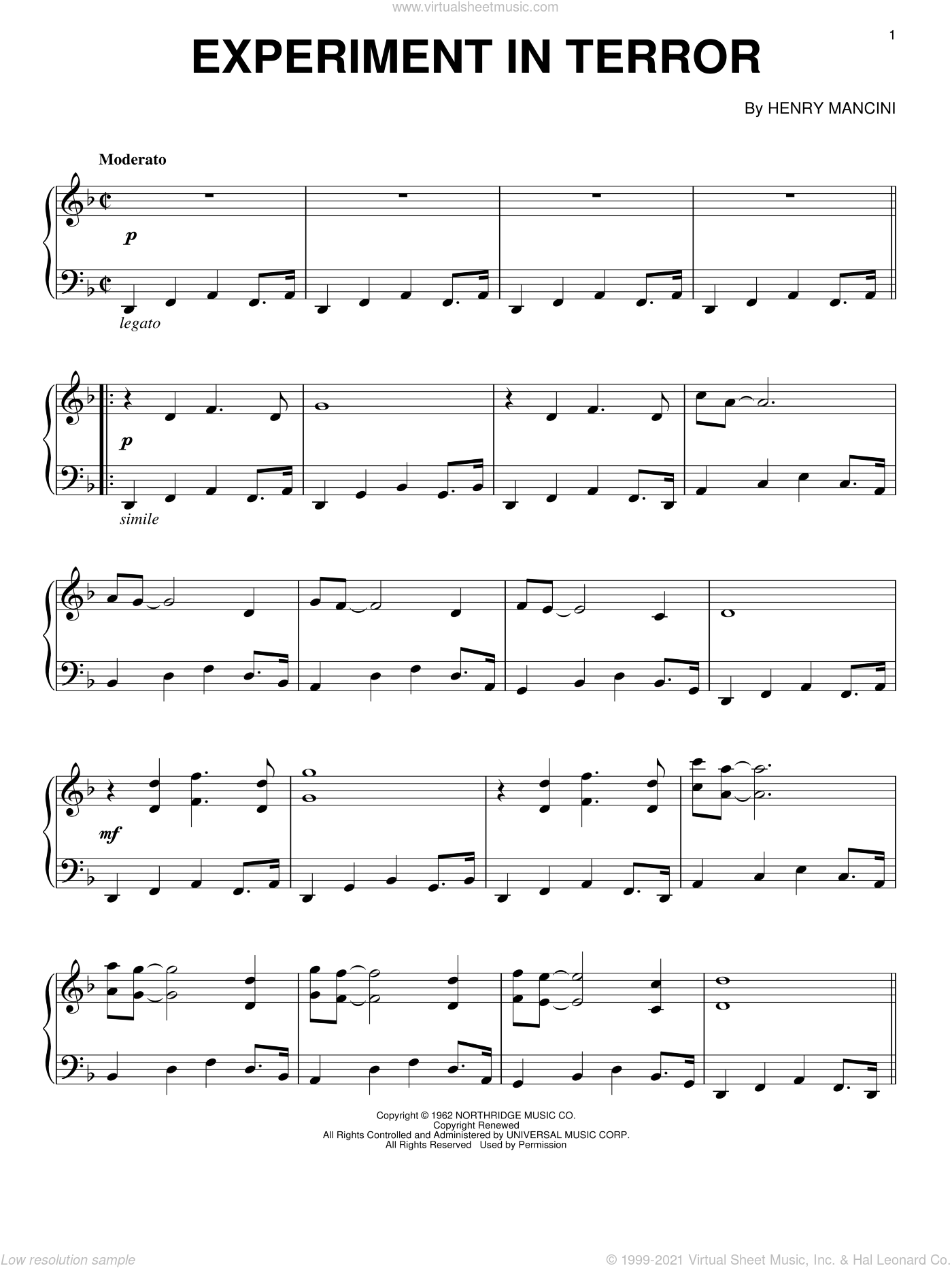 Experiment In Terror sheet music for piano solo by Henry Mancini, intermediate skill level