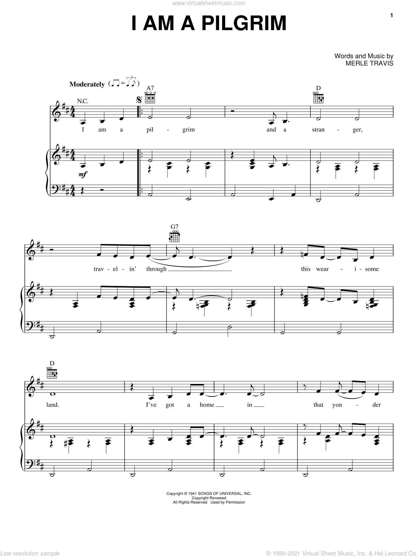 I Am A Pilgrim sheet music for voice, piano or guitar by Johnny Cash and Merle Travis, intermediate. Score Image Preview.