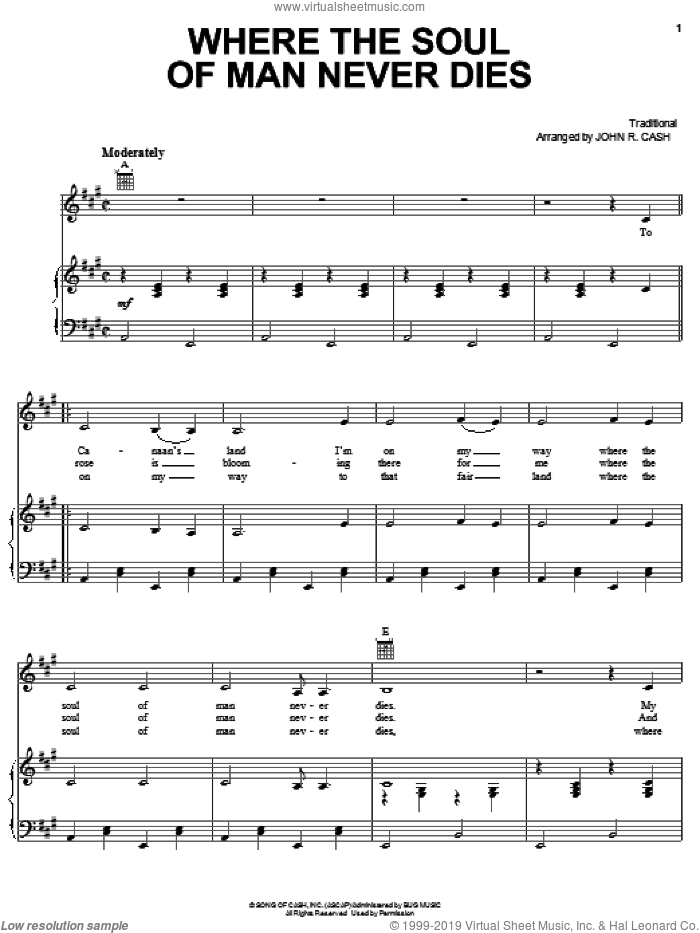 Where The Soul Of Man Never Dies sheet music for voice, piano or guitar  and Johnny Cash. Score Image Preview.