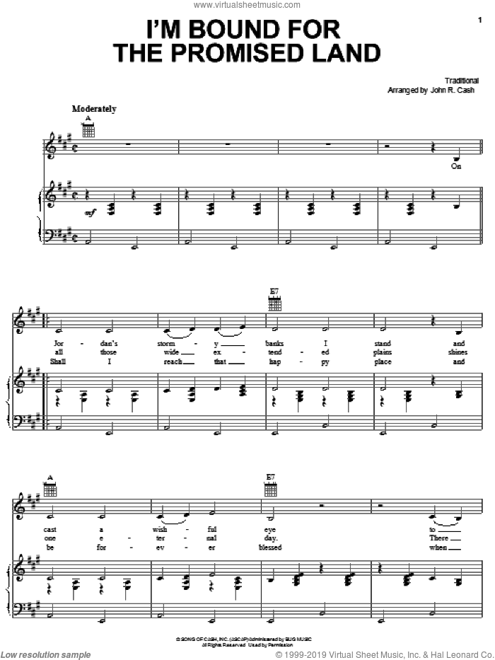 Bound For The Promised Land sheet music for voice, piano or guitar by Johnny Cash and Miscellaneous, intermediate skill level