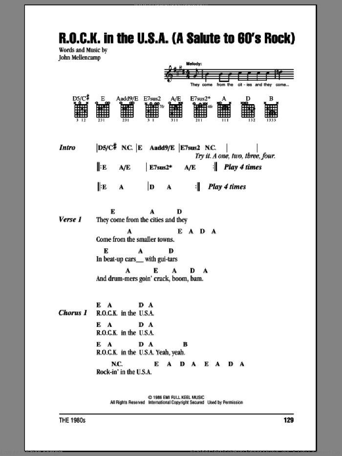 R.O.C.K. In The U.S.A. (A Salute To 60's Rock) sheet music for guitar (chords) by John Mellencamp. Score Image Preview.