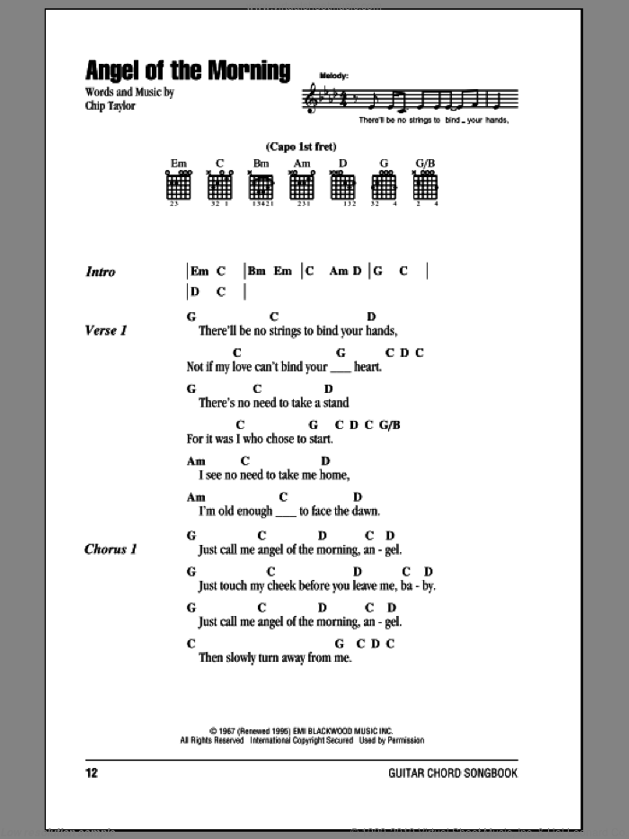 Angel Of The Morning sheet music for guitar (chords) by Chip Taylor and Juice Newton. Score Image Preview.