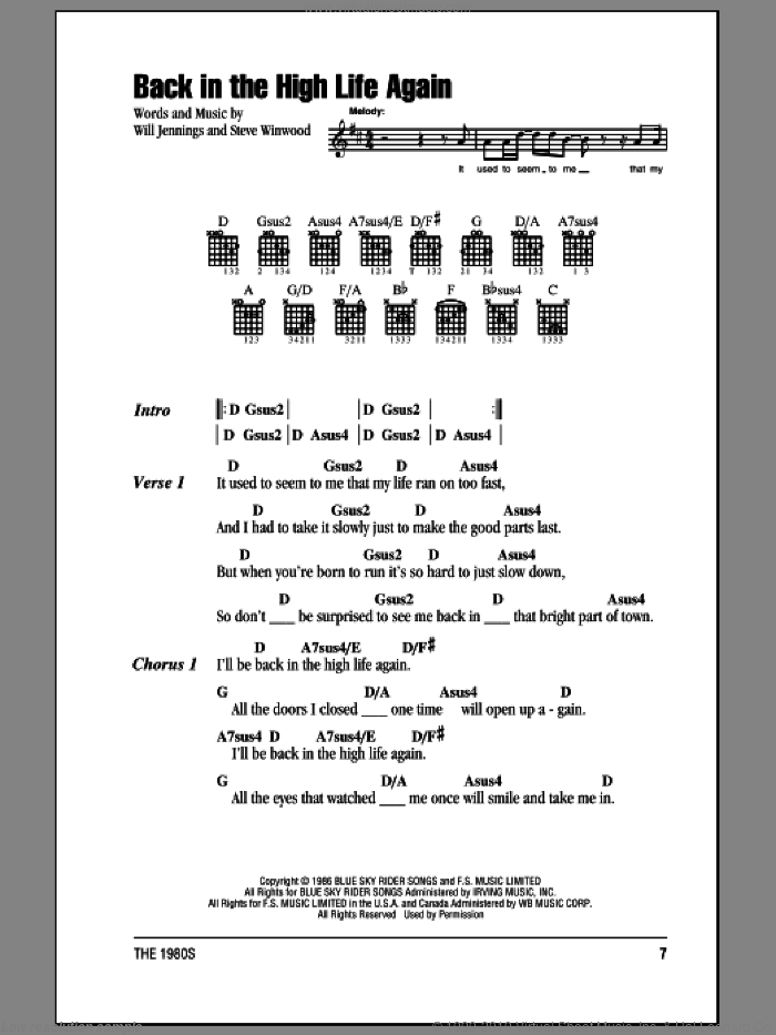 Back In The High Life Again sheet music for guitar (chords) by Will Jennings and Steve Winwood. Score Image Preview.
