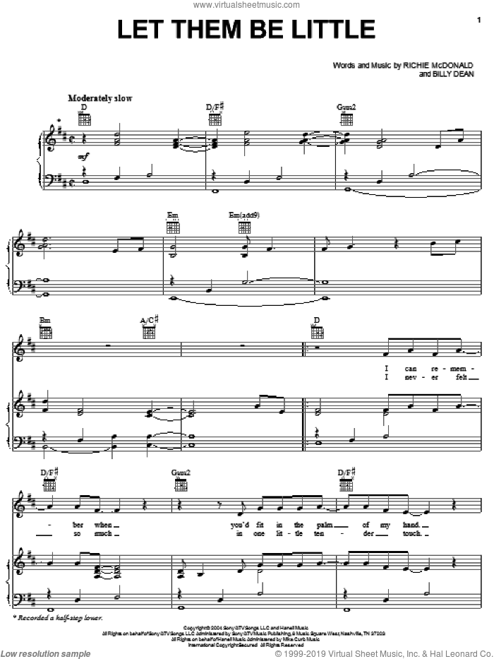 Let Them Be Little sheet music for voice, piano or guitar by Billy Dean, Lonestar and Richie McDonald, intermediate skill level