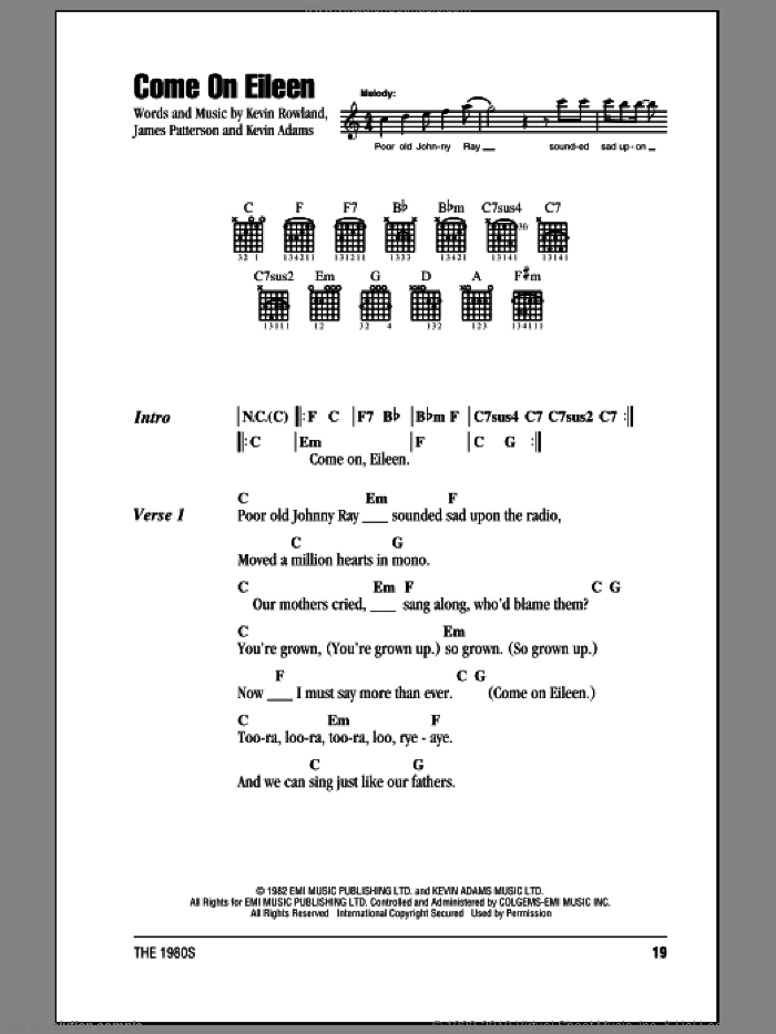 Come On Eileen sheet music for guitar solo (chords, lyrics, melody) by Kevin Rowland