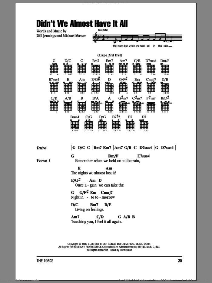 Didn't We Almost Have It All sheet music for guitar (chords, lyrics, melody) by Will Jennings