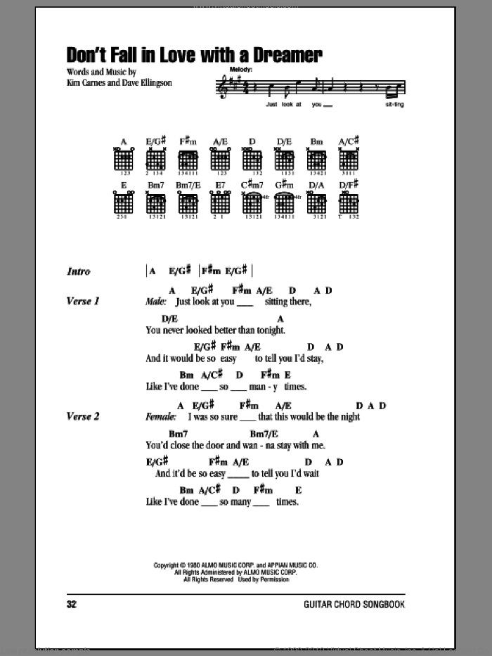 Don't Fall In Love With A Dreamer sheet music for guitar (chords) by Kim Carnes