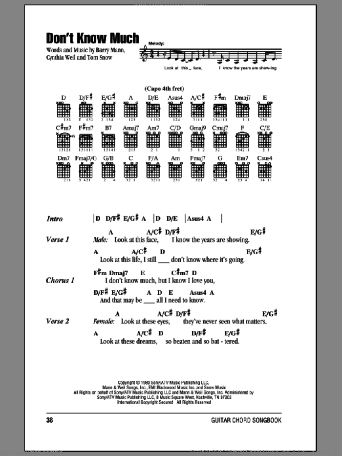 Don't Know Much sheet music for guitar (chords) by Aaron Neville and Linda Ronstadt, Barry Mann, Cynthia Weil and Tom Snow, wedding score, intermediate guitar (chords). Score Image Preview.