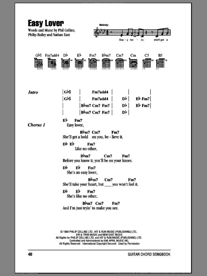 Easy Lover sheet music for guitar (chords) by Phil Collins & Philip Bailey, Nathan East, Phil Collins and Philip Bailey, intermediate. Score Image Preview.