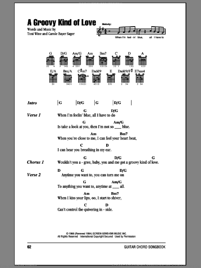 A Groovy Kind Of Love sheet music for guitar (chords) by The Mindbenders, Phil Collins, Carole Bayer Sager and Toni Wine, wedding score, intermediate skill level