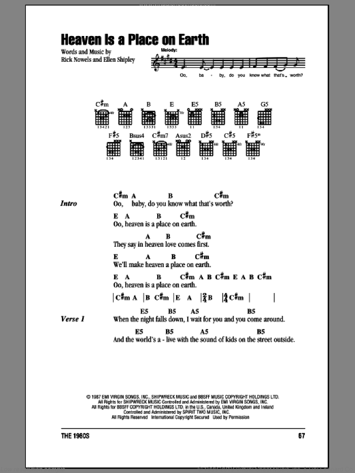 Heaven Is A Place On Earth sheet music for guitar (chords) by Rick Nowels, Belinda Carlisle and Ellen Shipley. Score Image Preview.