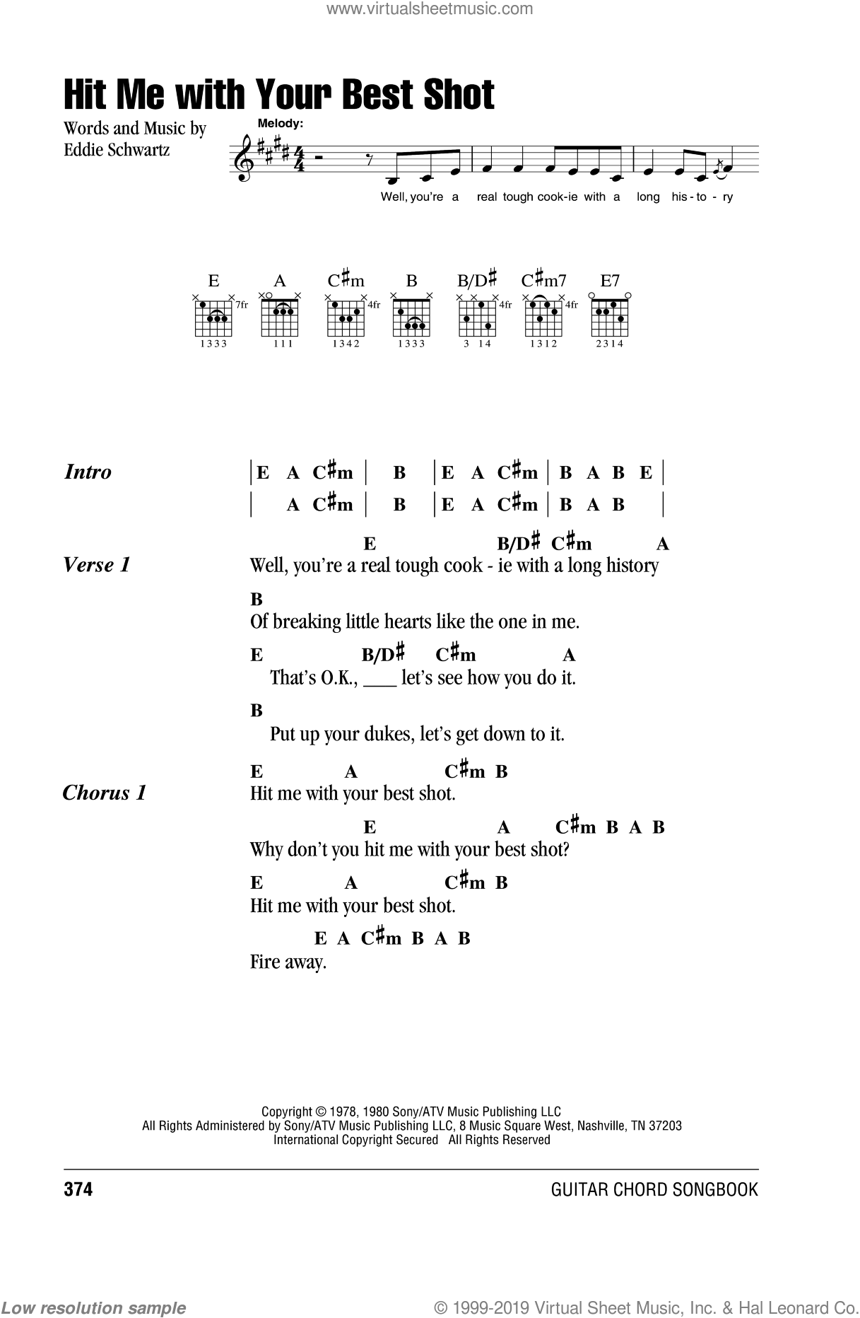 Hit Me With Your Best Shot sheet music for guitar (chords) by Pat Benatar and Eddie Schwartz, intermediate guitar (chords). Score Image Preview.