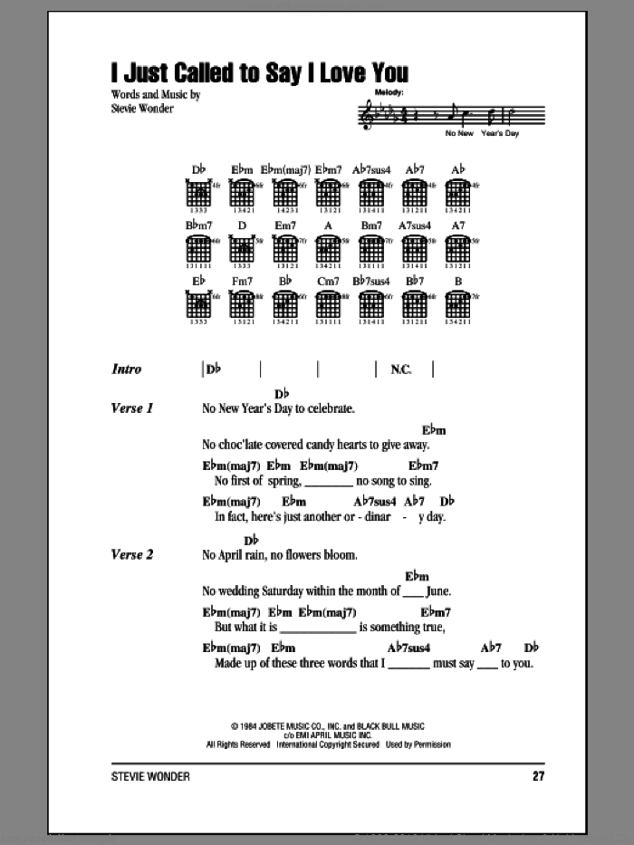 I Just Called To Say I Love You sheet music for guitar (chords) by Stevie Wonder, intermediate skill level