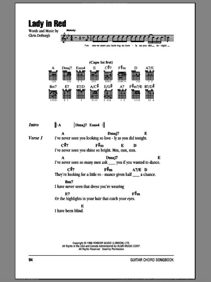 Lady In Red sheet music for guitar (chords) by Chris de Burgh. Score Image Preview.