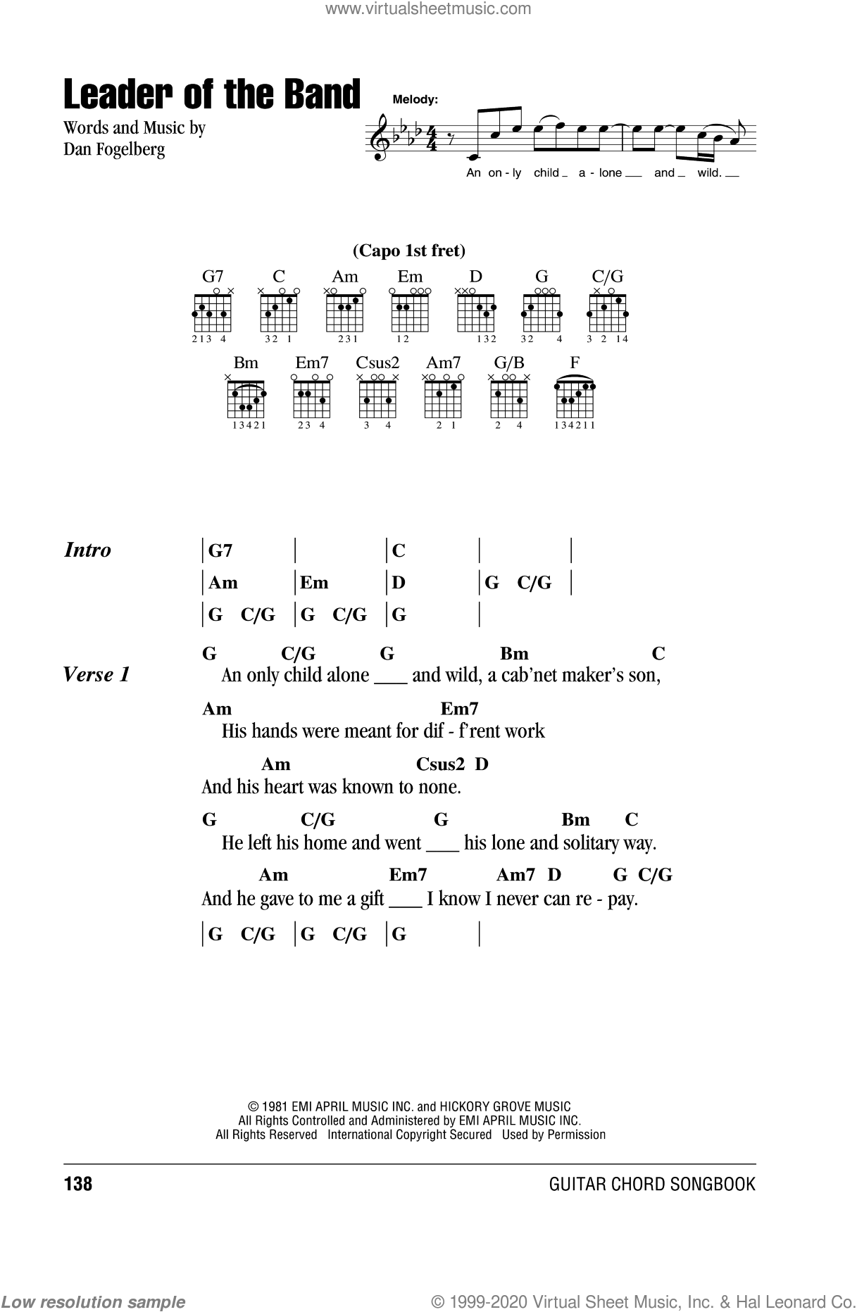 Leader Of The Band sheet music for guitar (chords) by Dan Fogelberg, intermediate skill level