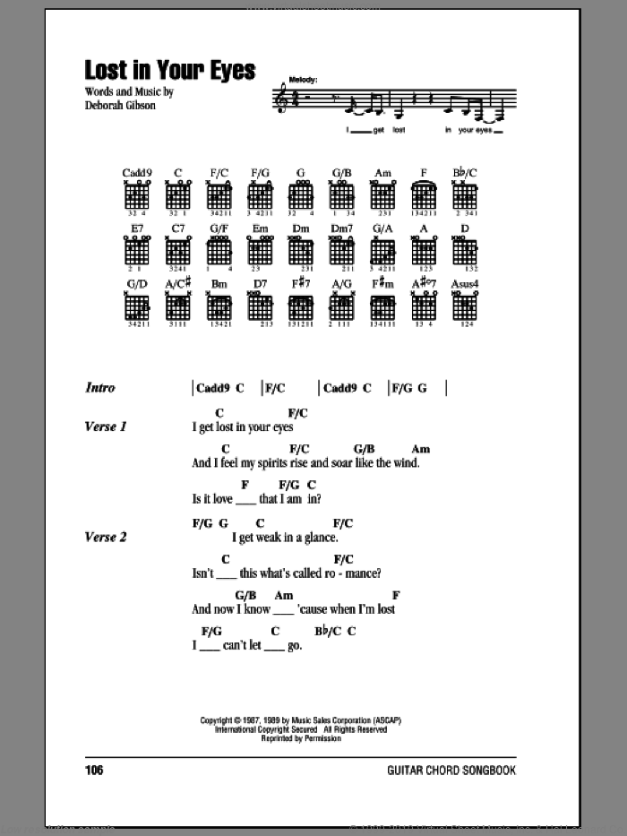 Lost In Your Eyes sheet music for guitar (chords) by Debbie Gibson and Deborah Gibson, intermediate skill level