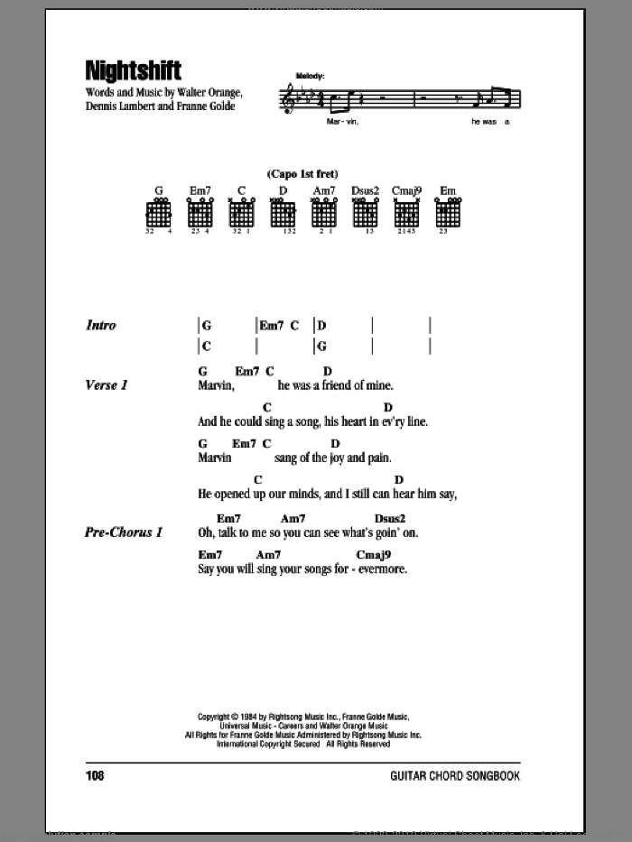 Nightshift sheet music for guitar (chords) by The Commodores and Franne Golde. Score Image Preview.