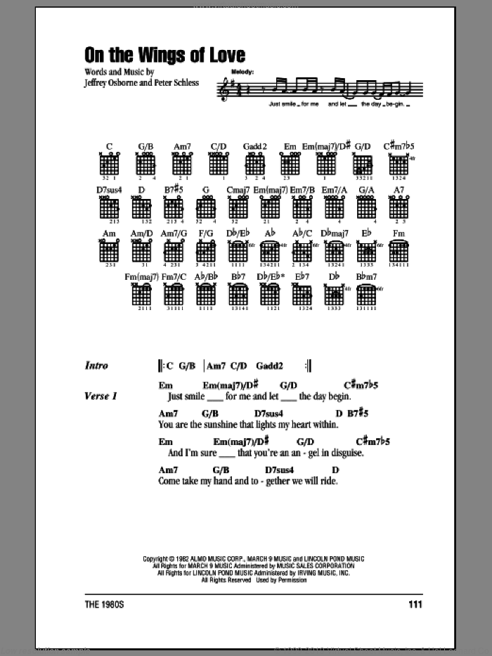 On The Wings Of Love sheet music for guitar (chords) by Peter Schless