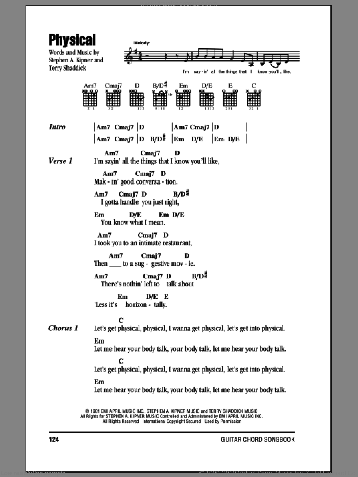 Physical sheet music for guitar solo (chords, lyrics, melody) by Terry Shaddick
