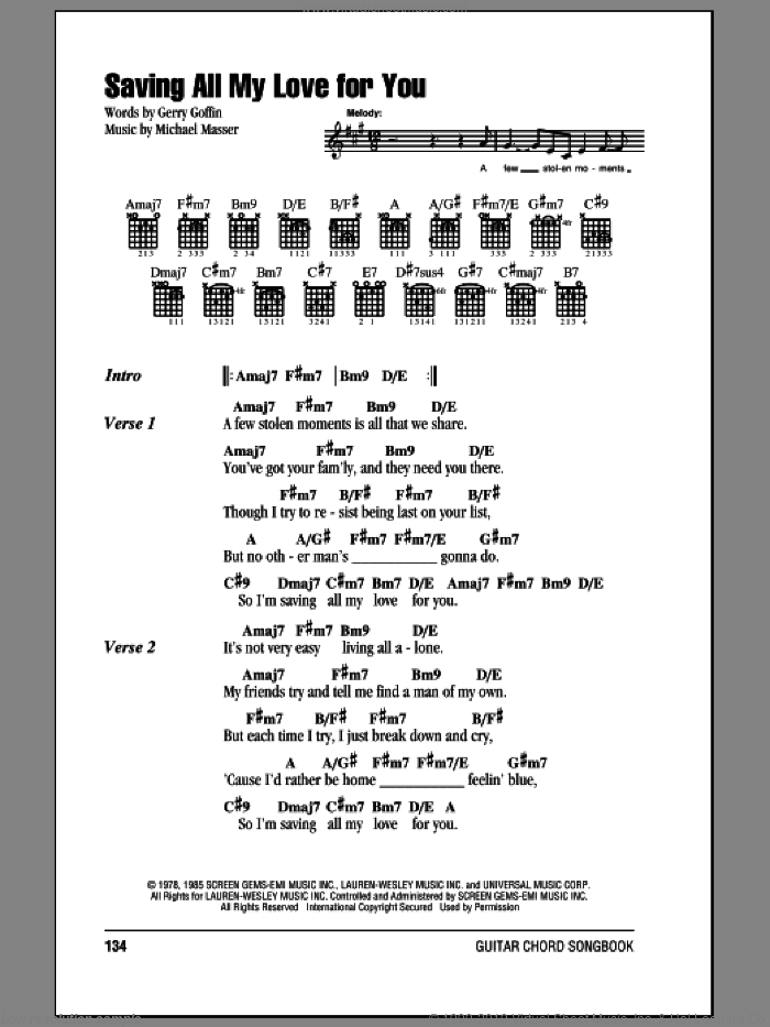Saving All My Love For You sheet music for guitar (chords) by Whitney Houston, Gerry Goffin and Michael Masser, wedding score, intermediate