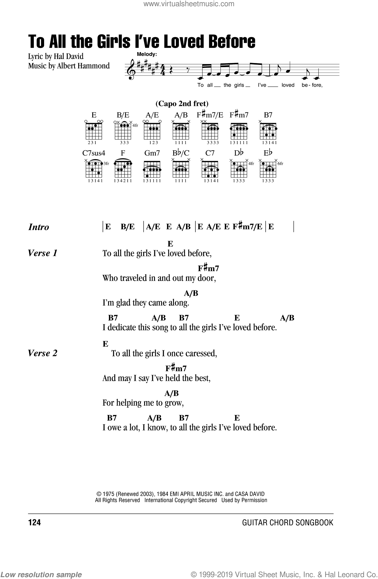 To All The Girls I've Loved Before sheet music for guitar (chords) by Hal David