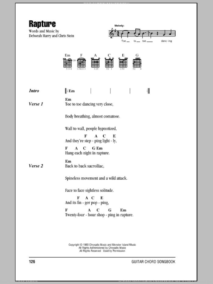 Rapture sheet music for guitar (chords) by Deborah Harry, Blondie and Chris Stein. Score Image Preview.