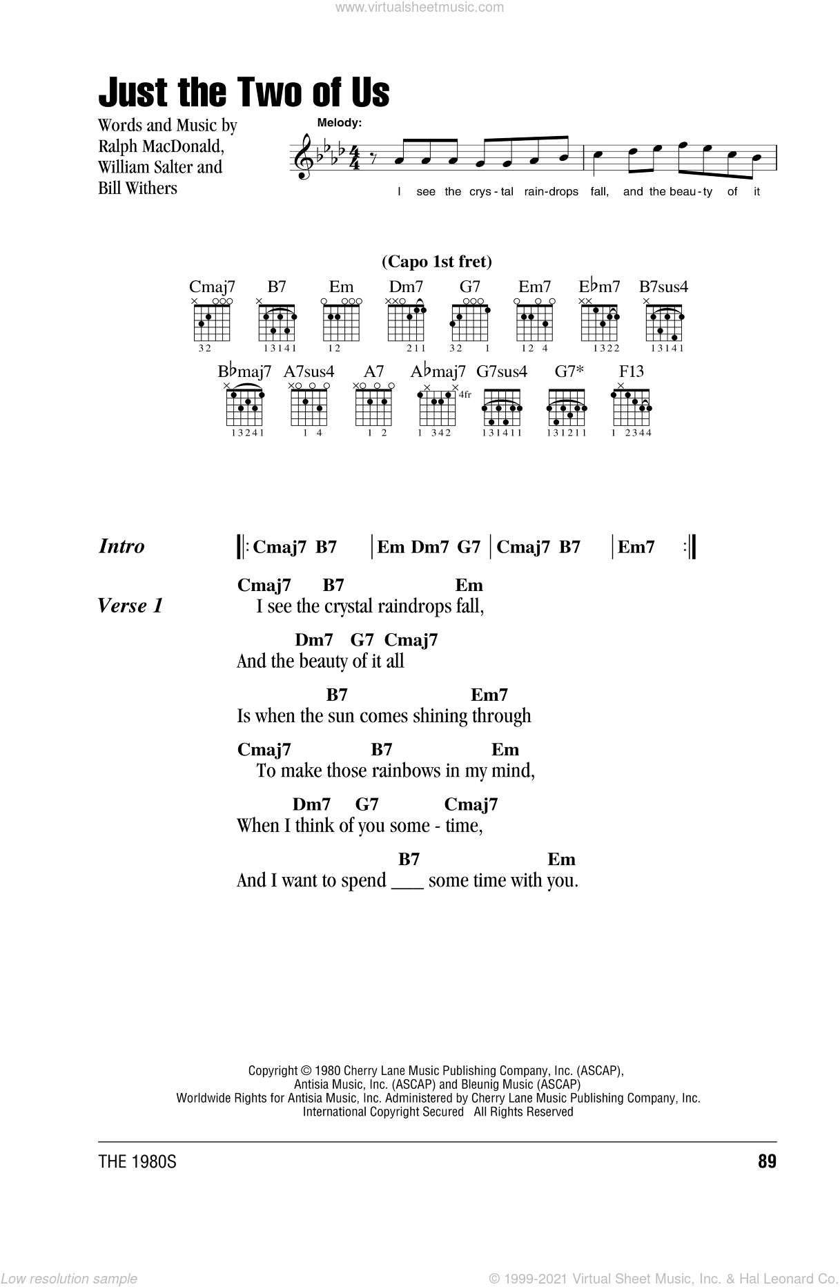 Just The Two Of Us sheet music for guitar (chords, lyrics, melody) by William Salter