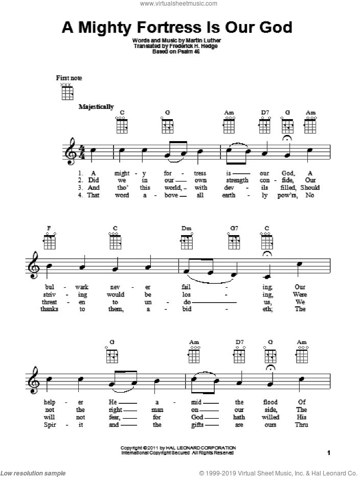 A Mighty Fortress Is Our God sheet music for ukulele by Frederick H. Hedge