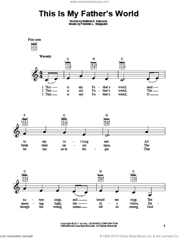 This Is My Father's World sheet music for ukulele by Maltbie D. Babcock and Franklin L. Sheppard, intermediate skill level