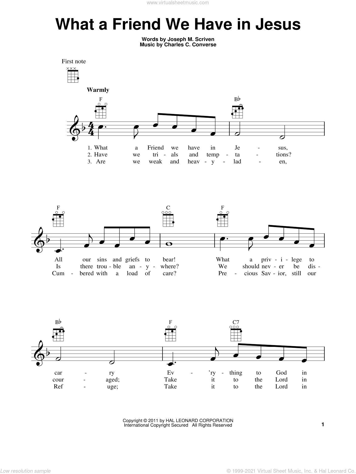 What A Friend We Have In Jesus sheet music for ukulele by Joseph M. Scriven and Charles C. Converse, intermediate skill level