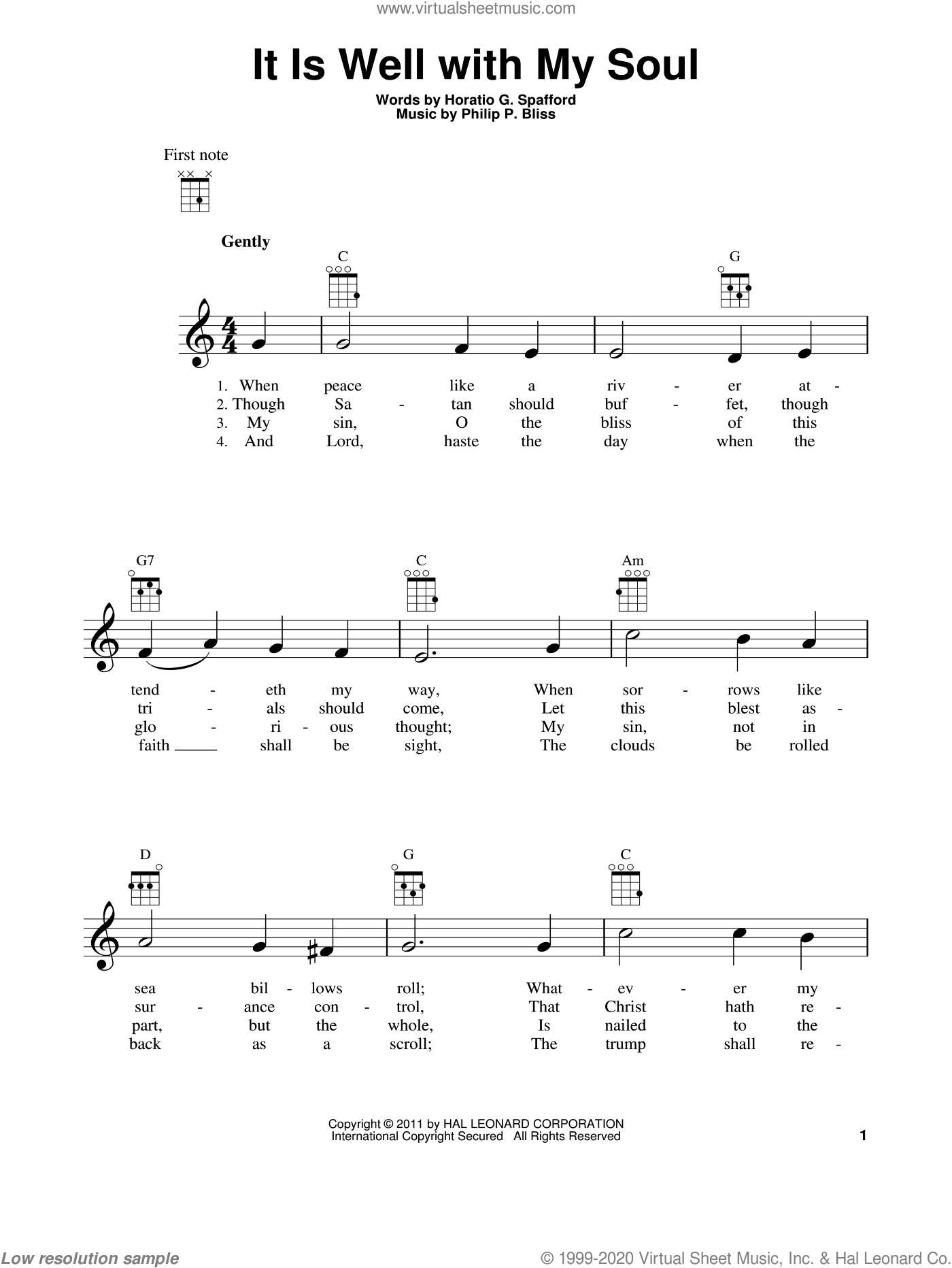 It Is Well With My Soul sheet music for ukulele by Philip P. Bliss and Horatio G. Spafford, intermediate skill level