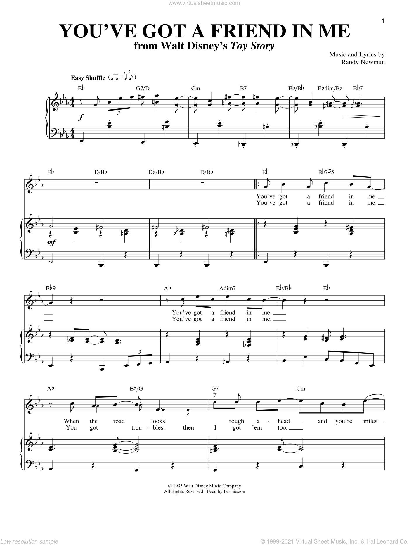 You've Got A Friend In Me (from Toy Story) sheet music for voice and piano by Randy Newman, Lyle Lovett and Toy Story (Movie), intermediate skill level