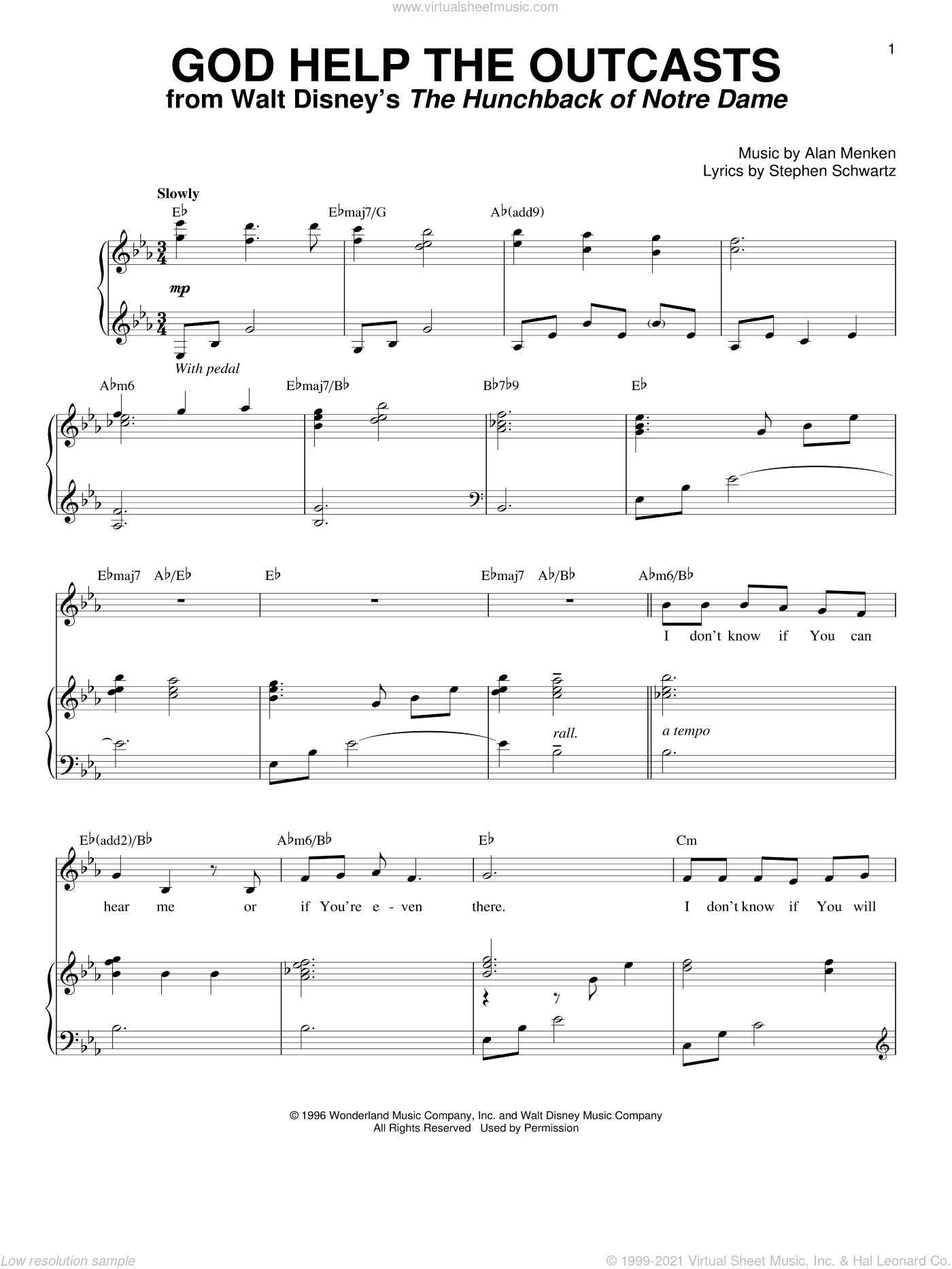 God Help The Outcasts sheet music for voice and piano by Bette Midler, Alan Menken and Stephen Schwartz, intermediate skill level