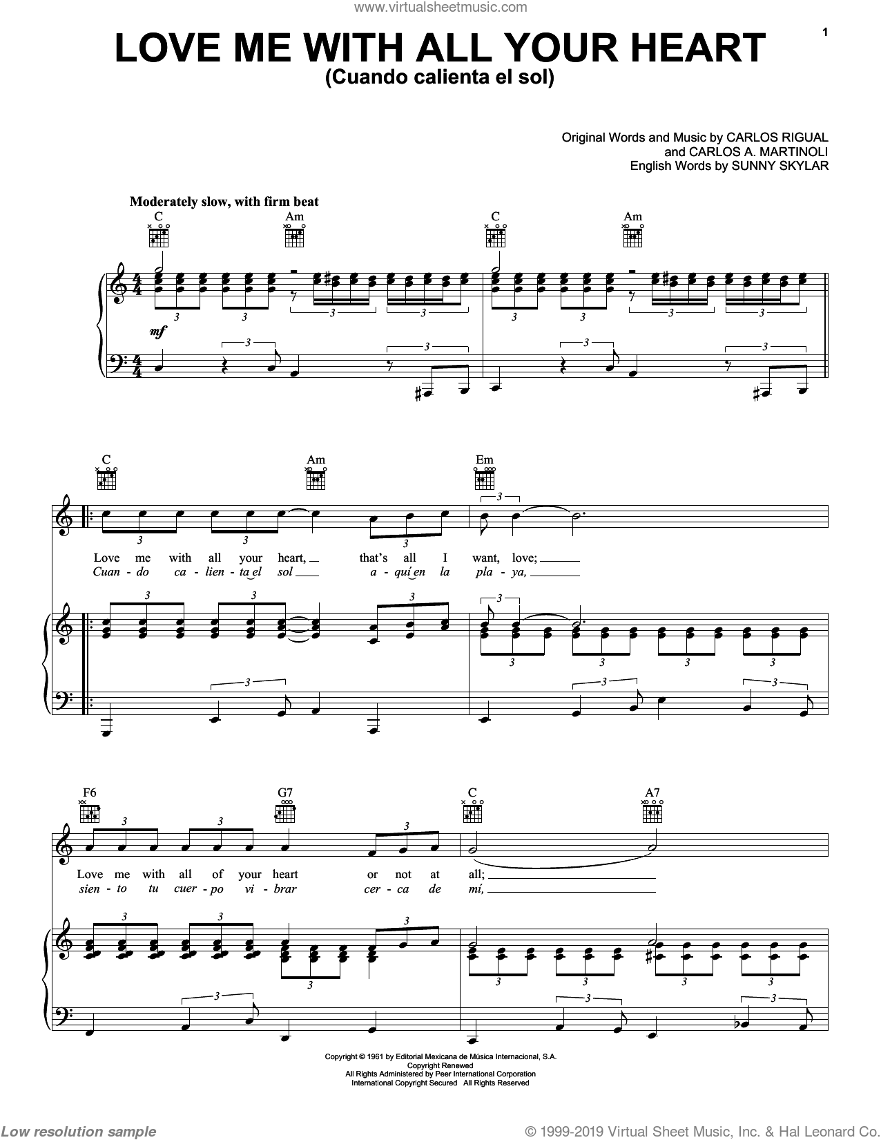 Love Me With All Your Heart (Cuando Calienta El Sol) sheet music for voice, piano or guitar by The Ray Charles Singers, Carlos A. Martinoli, Carlos Rigual and Sunny Skylar, intermediate skill level